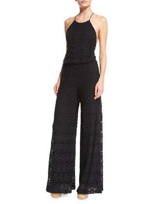 Delphine Embroidered-Lace Jumpsuit Coverup