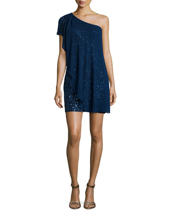 One-Shoulder Caftan Sequined Cocktail Dress