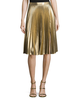 Rene Metallic Ribbed Sweater & Gates Pleated Skirt