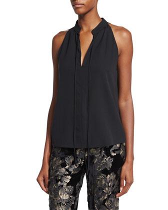 Ivy Sleeveless Tie-Front Top, Black