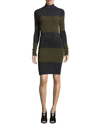 Sharon Long-Sleeve Striped Metallic Dress, Black/Army Multi