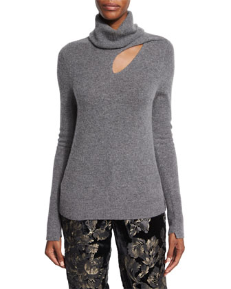 Billy Cashmere-Blend Turtleneck Sweater, Heather Gray