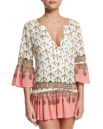 Life's Peachy Printed Caftan Coverup & Printed Underwire One-Piece Swimsuit