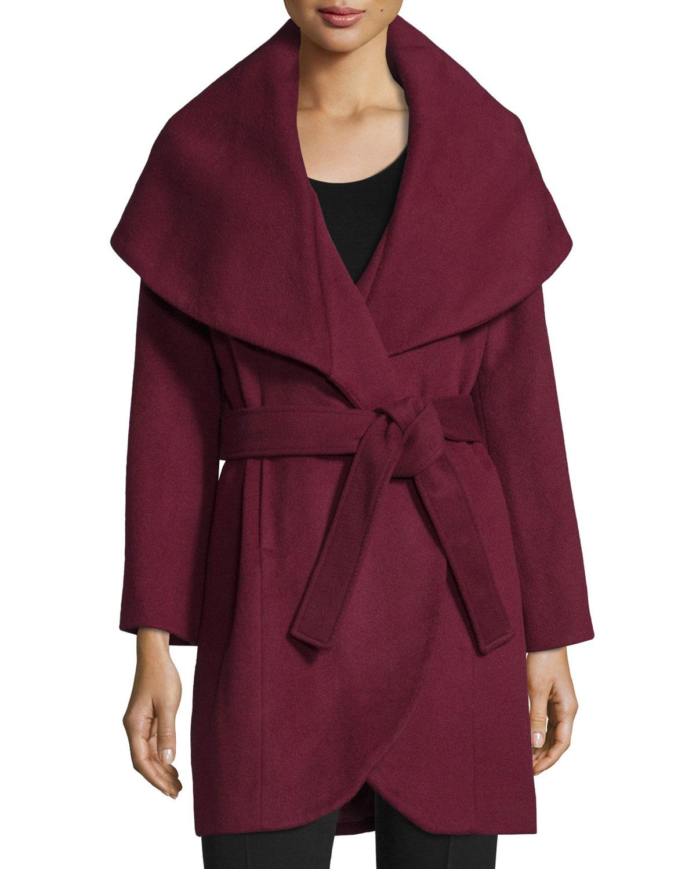 Marla Wrap Coat, Size: LARGE/12, BLACK - T Tahari