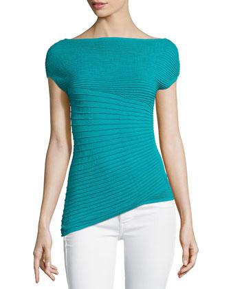 Sunburst Pleated Cap-Sleeve Sweater, Splash