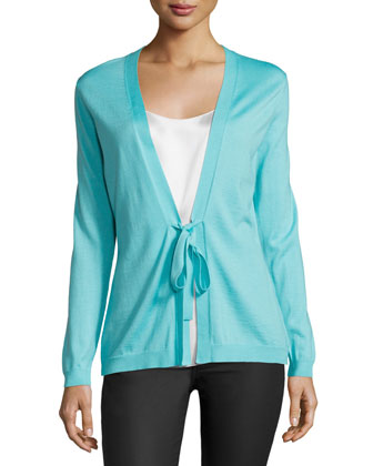 Long-Sleeve Tie-Front Sweater, Freshwater