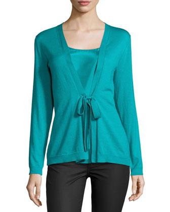Long-Sleeve Tie-Front Sweater, Splash