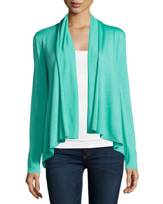 Long-Sleeve Draped-Front Cardigan, Spearmint