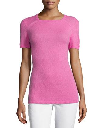 Short-Sleeve Cashmere Sweater, Dahlia