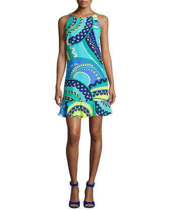 Cece Sleeveless Retro-Inspired Print Dress, Aqua