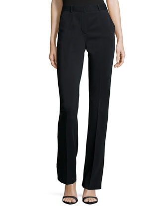 High-Waist Straight-Leg Trousers, Black