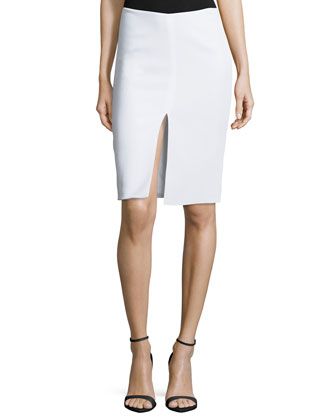 Front Slit Pencil Skirt, White