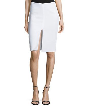 Front Slit Pencil Skirt, White