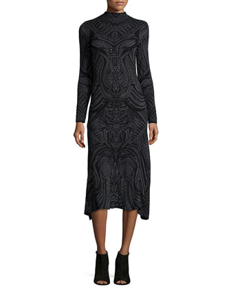 Long-Sleeve Lace-Print Dress