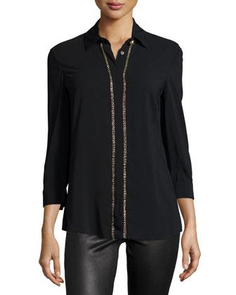 Embellished-Placket Sheer-Sleeve Blouse, Black