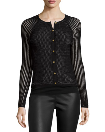 Long-Sleeve Button-Front Cardigan, Black