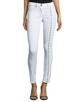 Embellished Skinny Ankle Jeans, White