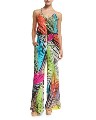 Multi Jungle-Print Silk Jumpsuit