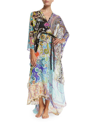 Paisley-Print Belted Caftan Coverup