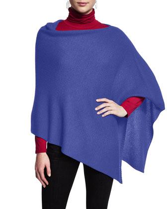 Merino Wool Textured Poncho, Petite