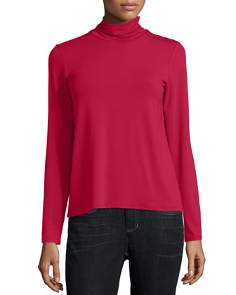 Lightweight Boiled Wool Shaped Jacket, Scrunch-Neck Long-Sleeve Top & ...