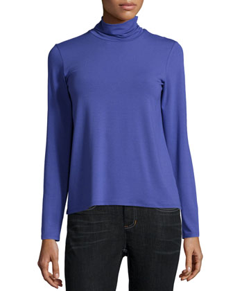 Merino Wool Textured Poncho & Scrunch-Neck Long-Sleeve Top, Women's