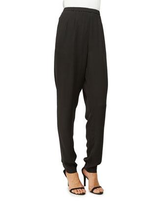 Silk Georgette Crepe Pants, Women's