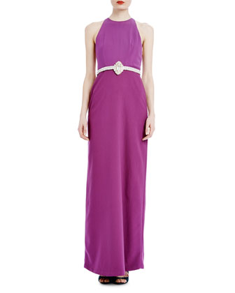 Sleeveless Halter Belted Column Gown