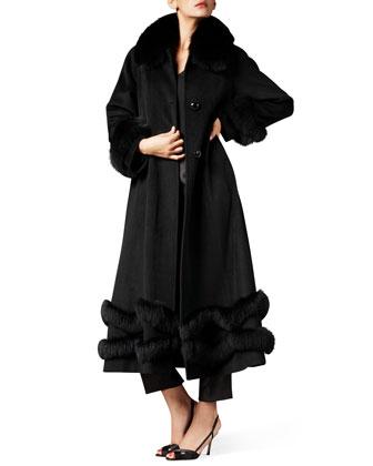 Fox-Trim Ankle-Length Cashmere Coat, Black
