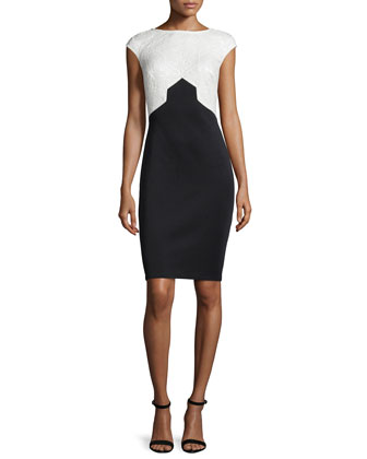 Cap-Sleeve Two-Tone Sheath Dress