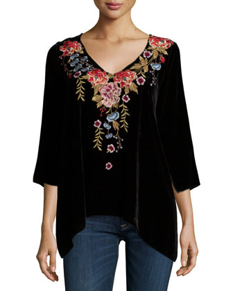 Amber 3/4-Sleeve Embroidered Velvet Tunic, Women's
