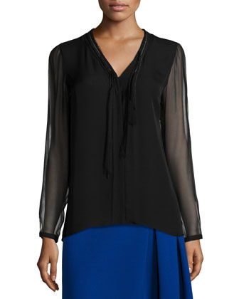 Emmy Long-Sleeve Tie-Neck Blouse