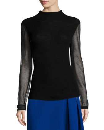 Maxina Merino Sweater w/ Sheer Sleeves & Mirella Two-Zip Side-Pleated Skirt