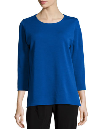 3/4-Sleeve Flat Wool Knit Top