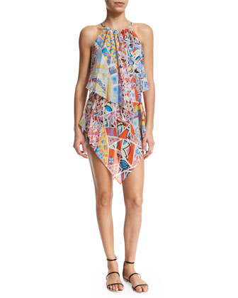 Light Mosaico Halter-Neck Dress, Celeste/Arancio