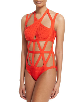Bandage One-Piece Swimsuit, Vermillion