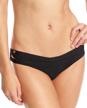Strappy-Front Bandage Swim Top & Strappy-Side Bikini Swim Bottom, Black