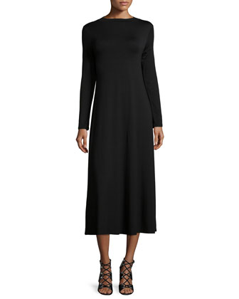 Deena Mock-Neck A-Line Dress