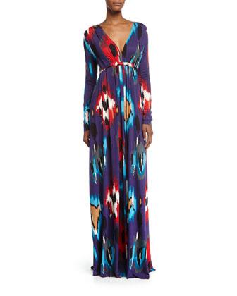 Long-Sleeve Printed Jersey Maxi Caftan Dress