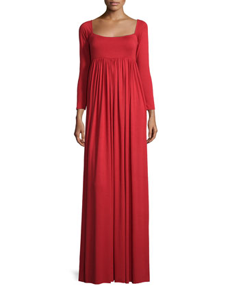Isa 3/4-Sleeve Empire-Waist Jersey Maxi Dress
