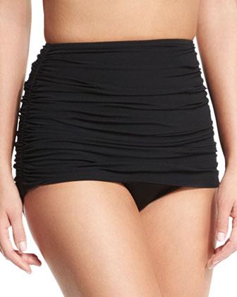 Shirred Bikini Swim Separates, Black