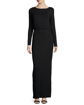 Flynn Long-Sleeve Column Maxi Dress
