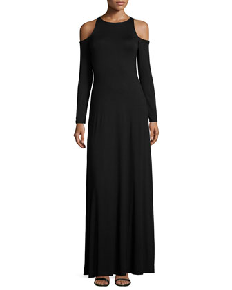 Romie Long-Sleeve Cold-Shoulder Maxi Dress, Women's