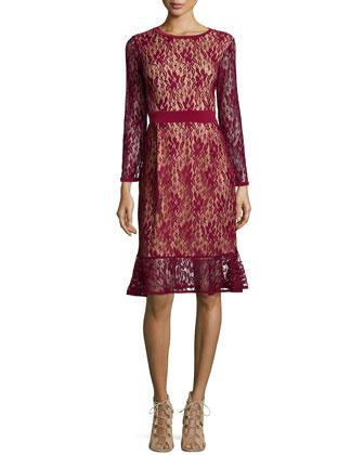 Long-Sleeves Lace Dress W/ Ruffle Hem, Women's