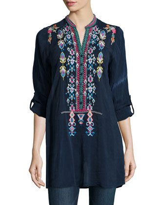 Azten Embroidered Tab-Sleeve Blouse, Women's