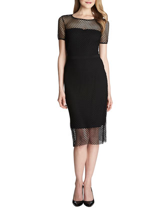 Lily Short-Sleeve Mesh Midi Dress