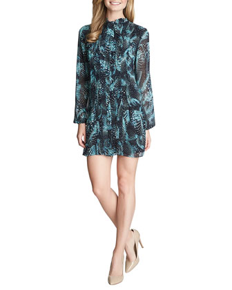 Naomi Long-Sleeve Printed Dropped-Waist Dress