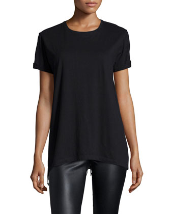 Zoe Rolled-Sleeve Tee, Black