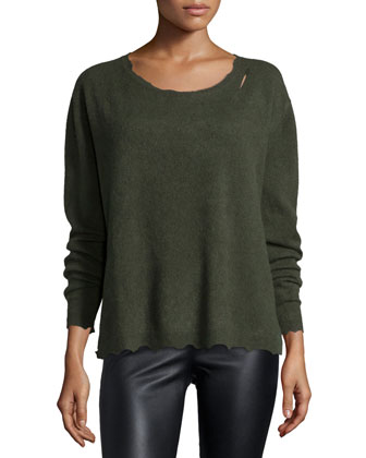 Charlotte Raw-Edge Cashmere Sweater, Commando