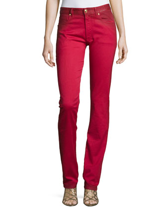 Straight-Leg Slight-Ombre Trousers, Red